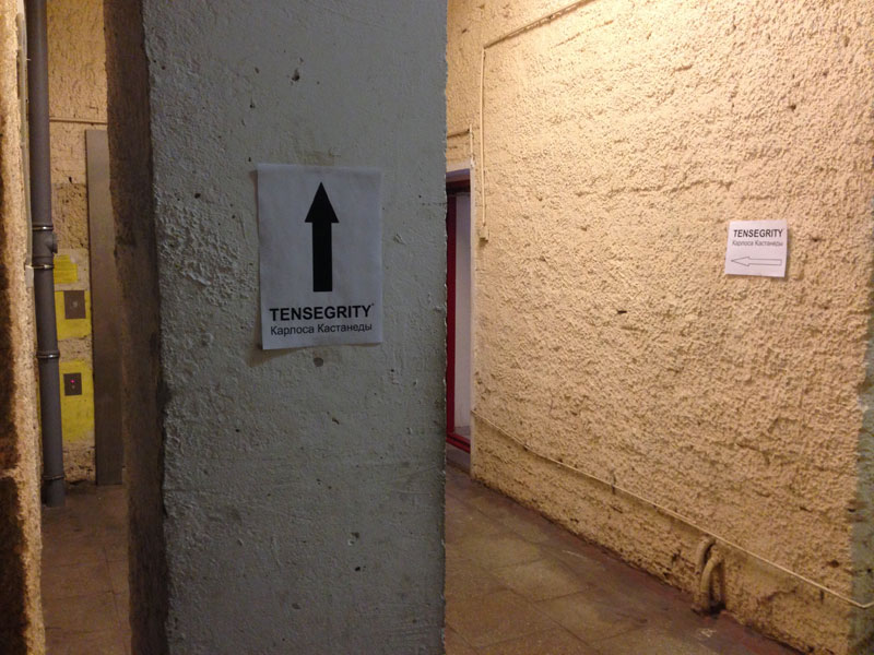 Signposts at the walls for participants to follow in the old Soviet building where the workshop took place